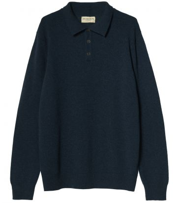 Mens Heavyweight Cashmere Polo - Lampwick Blue