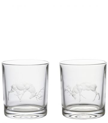 Fighting Stags Crystal Tumblers