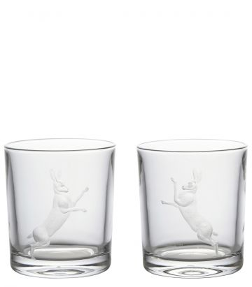 Fighting Hares Crystal Tumblers