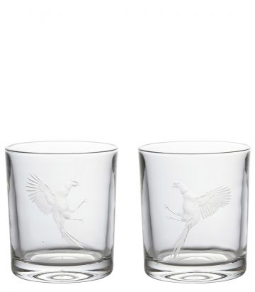 Fighting Pheasants Crystal Tumblers