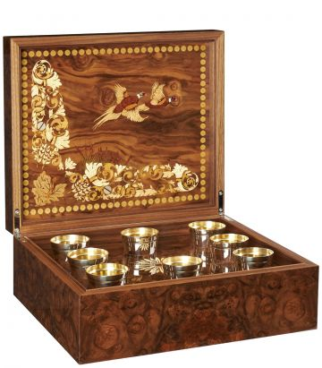 Marquetry Shot Box With Silver Cups