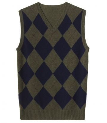 Ladies Argyle V Neck Vest