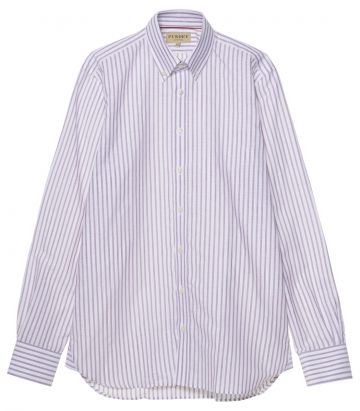 Mens Linen Oxford Stripe Shirt - Plum