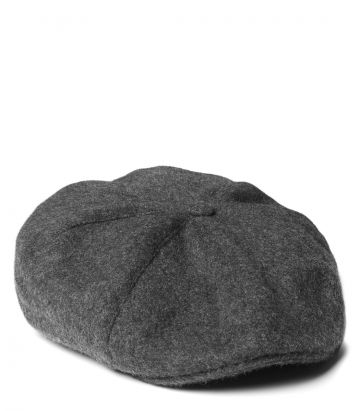 York Cashmere Bakerboy Cap - Charcoal