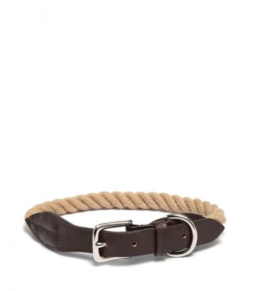 Rope and Leather Dog Collar