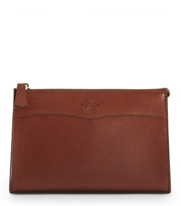 Leather Wash Bag - Purdey Havana - Medium