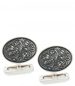 Silver Scroll Cufflinks With T-Bar