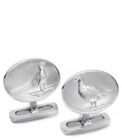 Pheasant and Grouse Silver Cufflinks