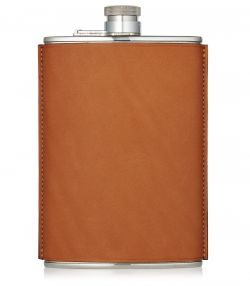 8oz Leather Flask - Tan