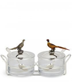 Jam Pots with Enameled Pheasants