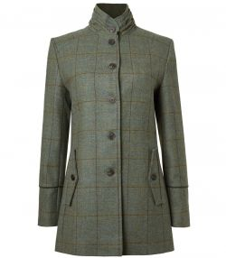Ladies Tweed Ruched Collar Coat - Minto