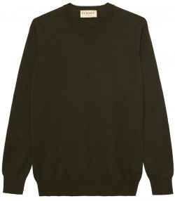 Ladies Crew Neck Cashmere Sweater - Rifle Green