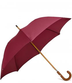 Gentleman's Travel Umbrella - Tan Handle - Red