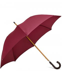 Gentleman's Travel Umbrella - Woven Handle - Red