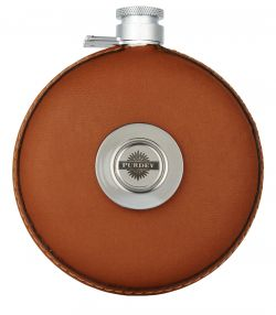 Round Leather Flask with Tot - Tan
