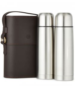 Side-by-Side Thermos Flask Set - Brown