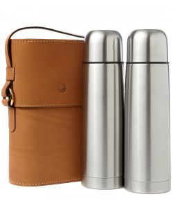 Side-by-Side Thermos Flask Set - Tan