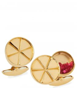 Gold Cufflinks with Ruby
