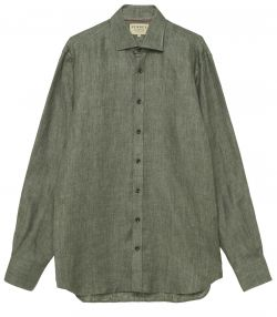 Mens Linen Twill Shirt - Dusky Green