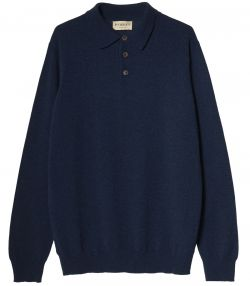 Mens Midweight Cashmere Polo - Lampwick Blue