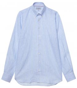Mens Linen Stripe Shirt - Blue