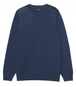Mens Button Crew Neck Shooting Sweater - Navy