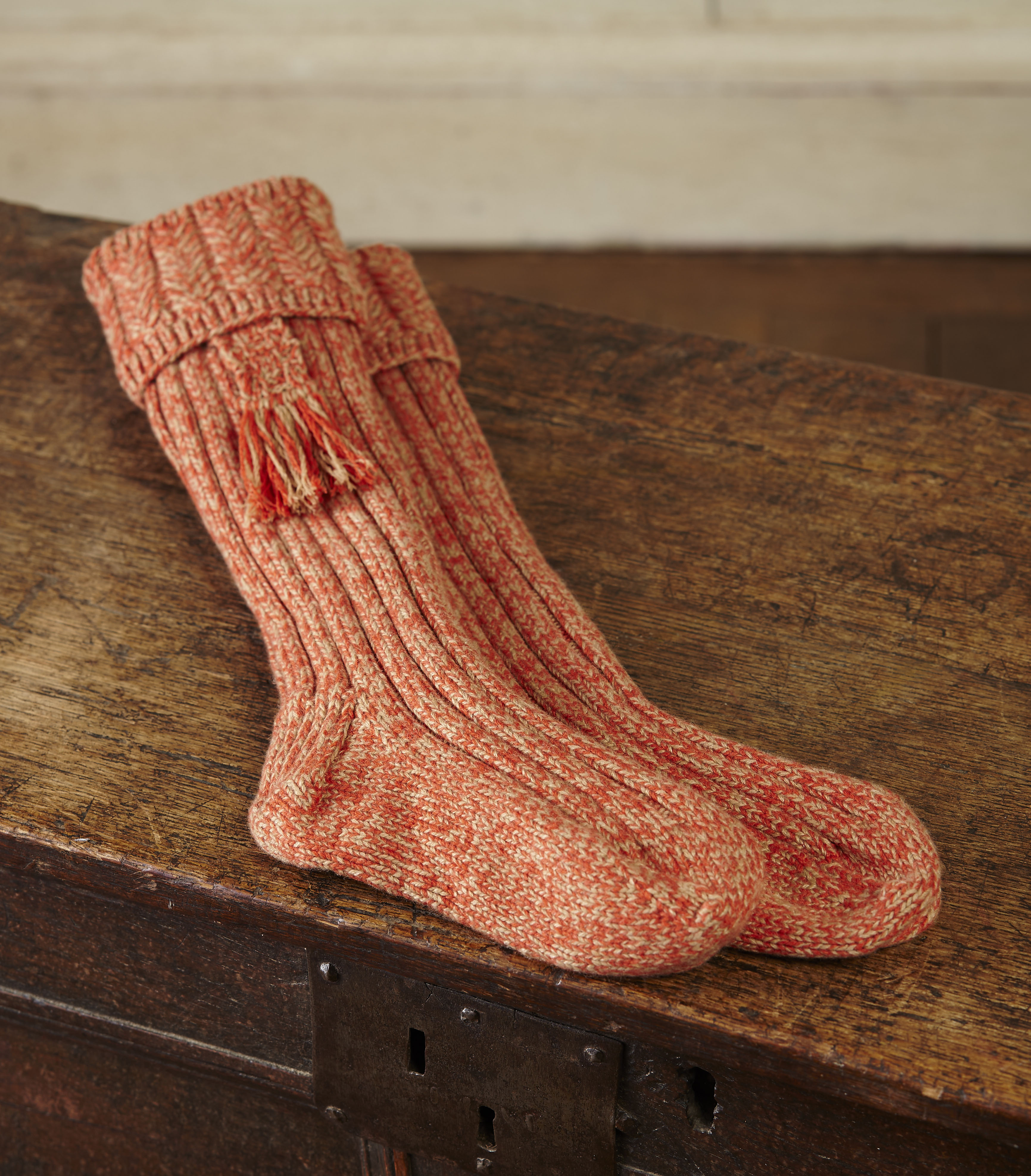 Hand Knitted Cashmere Shooting Socks With Garters