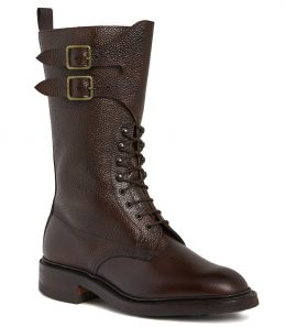Ladies Grain Leather Twin Strap Boots