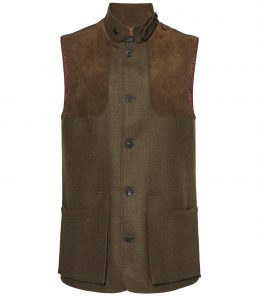 Mens Tweed High Collar Shooting Vest