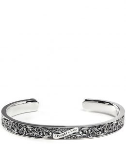 Scroll Engraved Silver Cuff