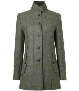 Ladies Tweed Ruched Collar Coat
