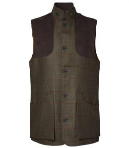 Mens Technical Tweed High Collar Vest