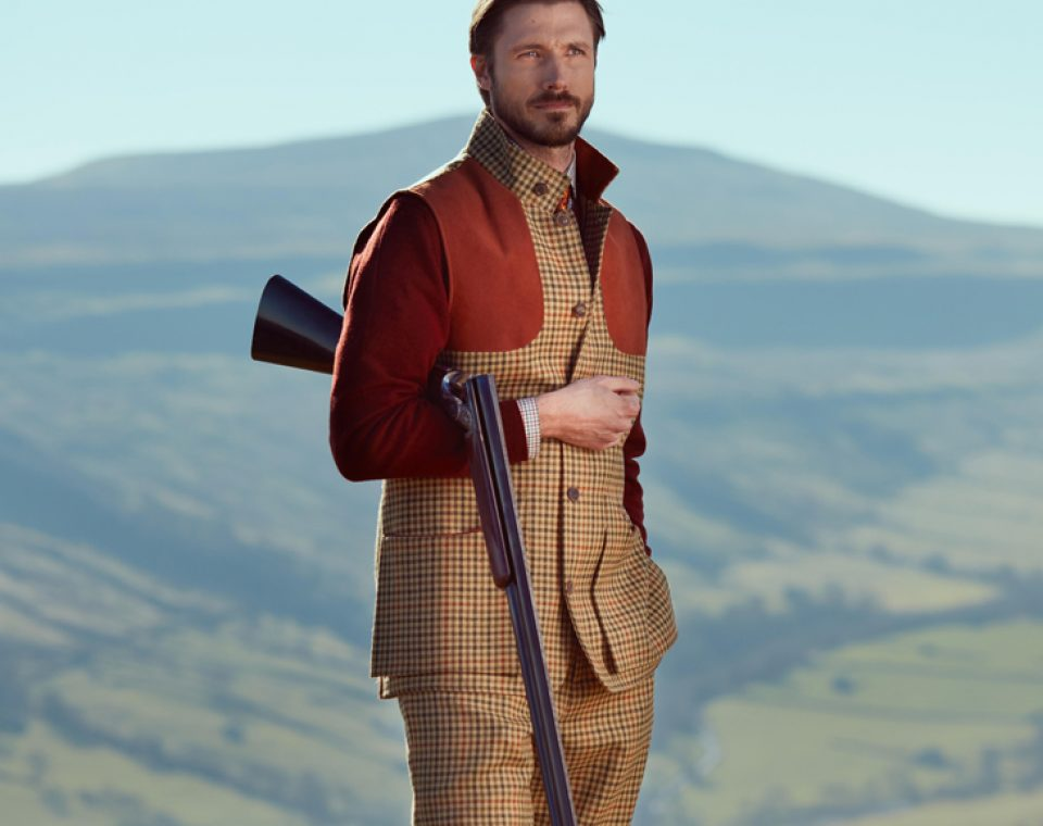 Men's Tweed High Collar Shooting Vest and Tweed Breeks - Purdey