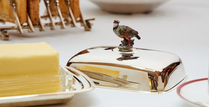 Silver Butter Tray with Partridge - Purdey
