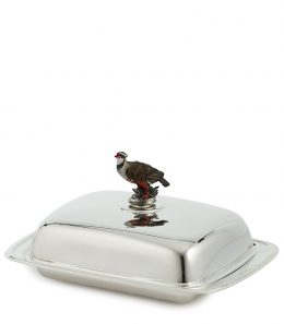 Silver Butter Tray with Partridge